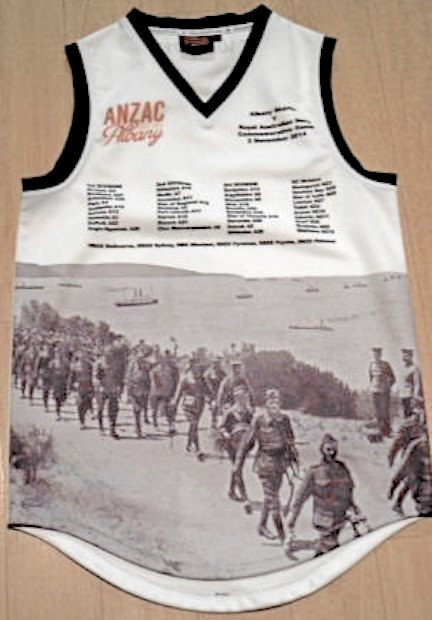 A football jersey with a black and white photo of Anzac soldiers marching on the front.